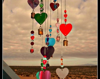 Stained Glass Hearts Wind Chime  Beaded Windchime Caged Marble beach glass sea glass wind chime