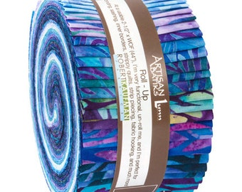 Kaufman Batik Fabric Strips Jelly Roll Rollup, Fancy Feathers, RU-650-40 Quilting, Free USA Shipping