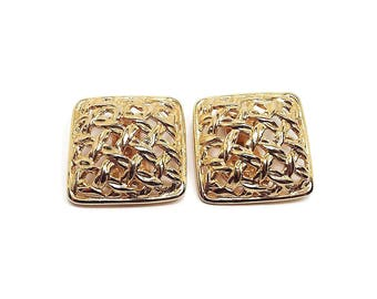Vintage Clip on Earrings Gold Tone Basket Weave Design Textured Woven Square Retro 1980s 80s Metal Jewelry