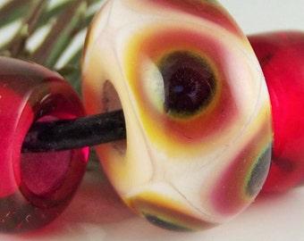 "SRA Lampwork ""BHB Pink Ink Spots Trio"" Handmade Lampwork Bead Show Lead Bead Dread Bead Loc Jewelry"