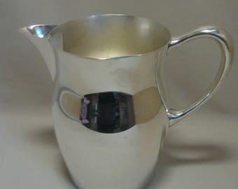 Silver Plate Pitcher Water Tea Beverage Ice Lip Pitcher 7 3/4 Inches High