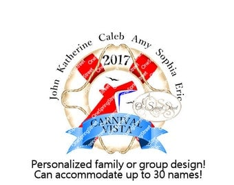 CARNIVAL CRUISE Any Ship Personalized Family Group Vacation T-shirt Iron On Transfer Ship Cabin Door Sign Fish Extender Printable # 1828