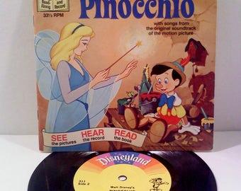 Vintage Disney Book and Record Set, PINNOCHIO