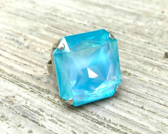 Neon Blue Ring, Huge Fluorescent Blue Swarovski Ring, Large Ultra Turquoise Square Swarovski Crystal Statement Cocktail Ring