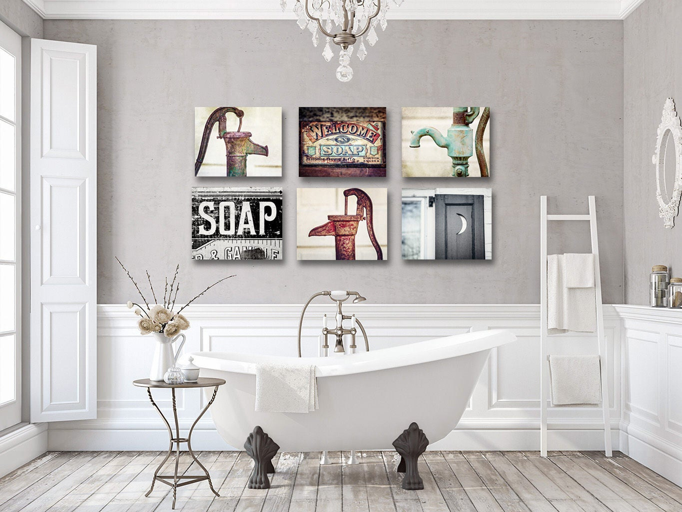 Artwork For Rustic Bathroom Wall Decor Farmhouse Bathroom
