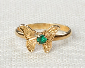 Vintage Butterfly Ring Dark Green Rhinestone Small Adjustable XS or Child's Size Vintage Ring Gold Butterfly Adjustable 16R