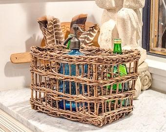 Vintage French Willow Bottle Basket