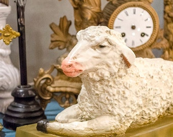 Fab Sheep Statue, Ewe, White Lamb, Statuary