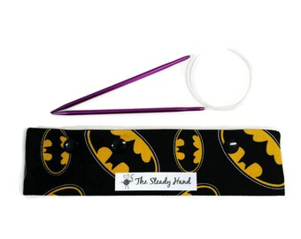 """Small Black and Yellow Batman Logo DPN Circular Project Holder for needles up to 7-1/2"""" long S243"""