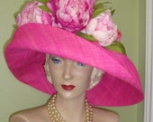 SALE Pink PEONIES Raffia Hat Custom Designer FloraL Easter, Polo, Derby, Garden Party, Church, Wedding Millinery Flower Hat,  LAST One