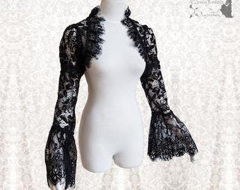 Victorian goth shrug, eye lash lace, black lace bolero, gothic, Somnia Romantica, size small - medium, see item details for measurements