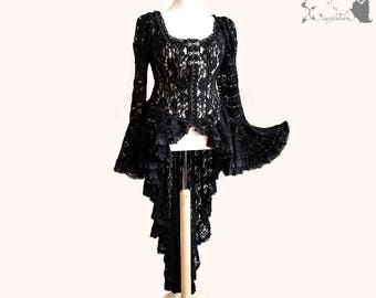 Waistcoat lace, Victorian, Steampunk, black, gothic, steampunk, Somnia Romantica, approx size L - XL, see item details for measurements