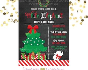 Printable white elephant party Christmas gift exchange party