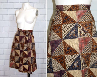 Vintage 70's Hippie Tie Waist Wrap Skirt / A-Line High Waisted Circle Skirt / Size 3