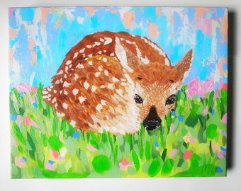 Fawn painting, deer art. abstract landscape, colorful paintings, happy art, animal art, woodland animals