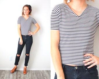 Vintage black and white striped crop shirt top // crop top // striped cropped top // white striped blouse // boho shirt // summer shirt top