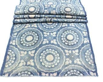 Antique Japanese Boro Textile. Handwoven Katazome Cotton. Natural Indigo Stencil Dyed Folk Fabric  (Ref: 1643B)