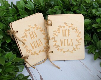 Vow Book Set His Vow Book Her Vow Book Rustic Wood Engraved Vow Books