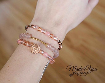 Blush Bracelet Stack - 3 Bracelets - Pink Stretch Bracelets