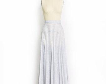 Vintage 70s Skirt - Silver Lame Pleated High Waisted Maxi Skirt 1970s - Medium