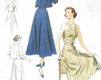 1940s Womens Sundress and Cropped Jacket Vogue Sewing Pattern V8974 Size 6 8 10 12 14 Bust 30 1/2 to 36 FF Vintage Vogue Re Issued Pattern