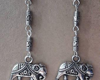 Long silver elephant dangle earrings, Tierracast animal earrings, Tribal earrings
