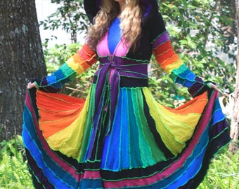 Made for you Custom size  upcycled Kaleidoscope recycled sweater traveling dream elf coat