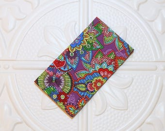 Floral Fabric Checkbook Cover - Money Holder - Gifts Under 10 - Cover For Checkbook - Coupon Holder