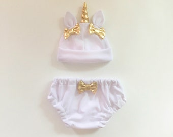 Unicorn Baby Hat & Bloomers Set Ivory