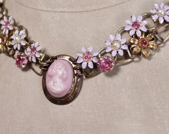 Blush- Antique Victorian Glass Cameo Assemblage Necklace- Pink, White, Lavender- Enamel, Rhinestones, Goldtone, gold filled