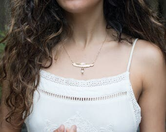 Feather and Quartz Point Necklace - Crystal Quartz - Boho Necklace - Gemstone Jewelry - Layering Necklace - Simple Jewelry - Gift for Her