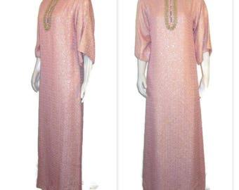 60s Maxi Dress Long Pink Dress Pink Maxi Dress Metallic Hostess Gown 1960s Hostess Dress At Home Dress Three Quarter Sleeves Pink Loungewear
