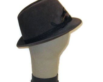 60s Gray Fedora Stingy Brim Hat Gray Stingy Brim 1960s Made in Canada Hat with Feather Mens Dress Hat Gray Dress Hat Gray Felt Hat
