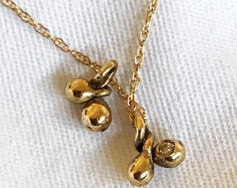 Organic Teardrops Pendant. Delicate Handmade 14K Gold Charm with 0.01ct Diamond. Ready to Ship