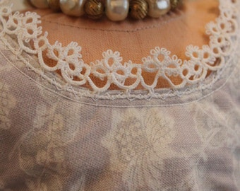 Upcycled Faux Pearl and Brass Bead Choker for 18 Inch Doll, AC39