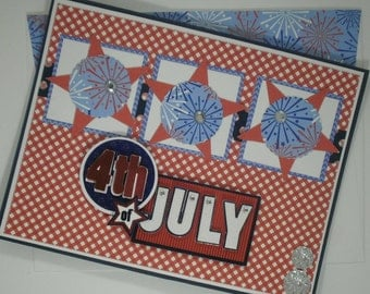 July 4th Card, Independence Day Card, Handmade Card, Fireworks, Patriotic Card, Red White and Blue, USA, July 4, Happy Fourth of July