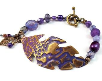 Artisan brass leaf bracelet - purple bracelet - patina brass jewelry - USA made