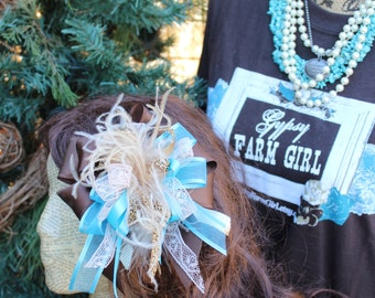 Turquoise and Brown hair bow / barrette with leopard ribbon, brown and turquoise, lace, ostrich feathers, foofoo, Texas size hair bow,  HB14