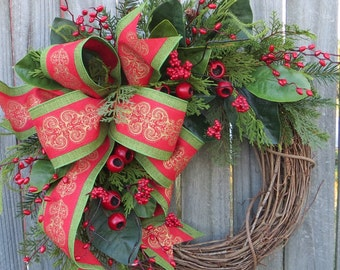 Christmas Wreath Berry Wreath Magnolia Wreath Christmas Traditional Wreath, Traditional Elegance Wreath, Touch of Gold Christmas Decor