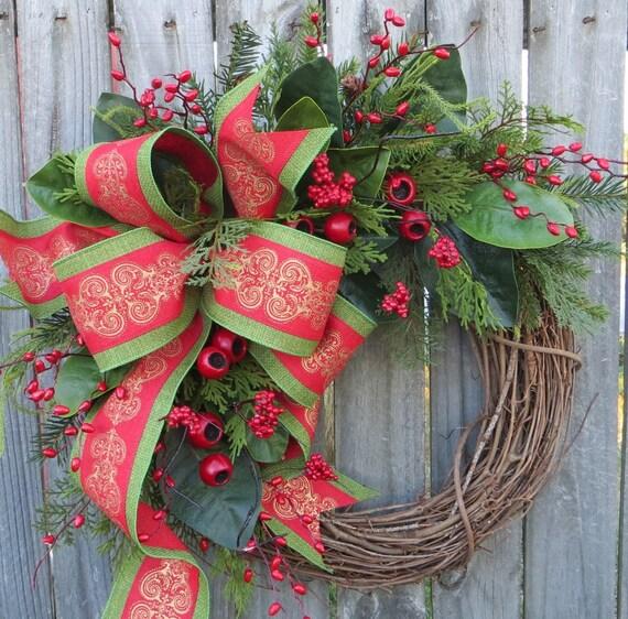 Christmas Wreath Berry Wreath Magnolia Wreath Christmas Traditional Wreath, Traditional Elegance Wreath, Touch of Gold Christmas Decor