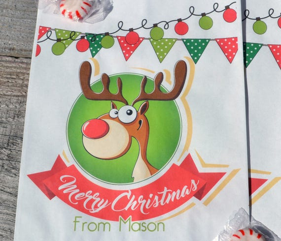Giveaways For Christmas Party: Cute Reindeer Personalized Goodie Cookie Paper Bags For