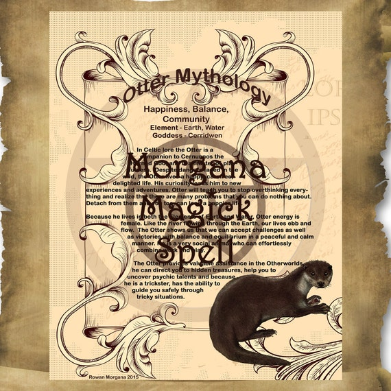 OTTER MYTHOLOGY, Digital Download,  Book of Shadows Page, Grimoire, Scrapbook, White Magick, Wiccan, Witchcraft,