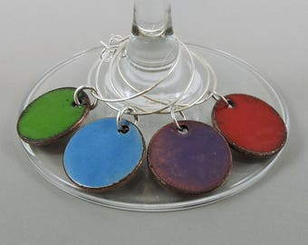 Enameled Wine Glass Charm Set, Wine Charms, Glass Charms, Drink Markers, Glass Tags, Hand Enameled Penny Charms, Glass Markers, Wine Tags