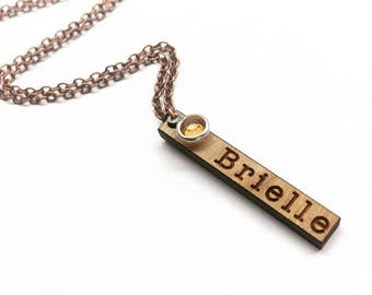 Brielle - Name and Birthstone Vertical Wood Bar Necklace - Wooden Bar Drop Necklace with Copper Tone Chain - Mothers Day Gift