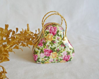 Royal Staffordshire Yellow and Pink Rose Trinket Purse