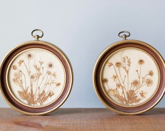 Pair of Round Vintage Framed Pressed Flower Wall Art Hangings