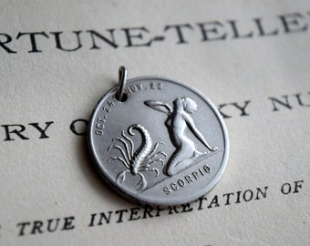Rare 1930's Antique Silver Scorpio Necklace Charm / Horoscope / Astrology / Zodiac / Fortune Teller