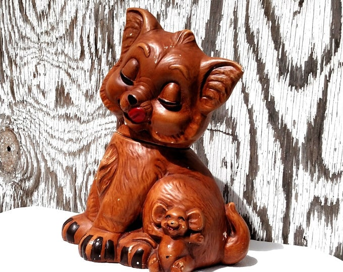 Vintage 1960's Cat and Mouse Cookie Jar