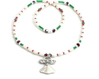 Girls Christmas Necklace - Angel Jewelry - Kid's Necklace - Children's Jewelry - Beaded Stretch Necklace - Holiday Jewelry - Ready To Ship