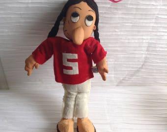 RARE Stanford Cardinals, Indians, Mascot Doll.  Vintage 1950 1960 Dakin Dream Doll.  Made in Japan.   Mid century modern, Eames era